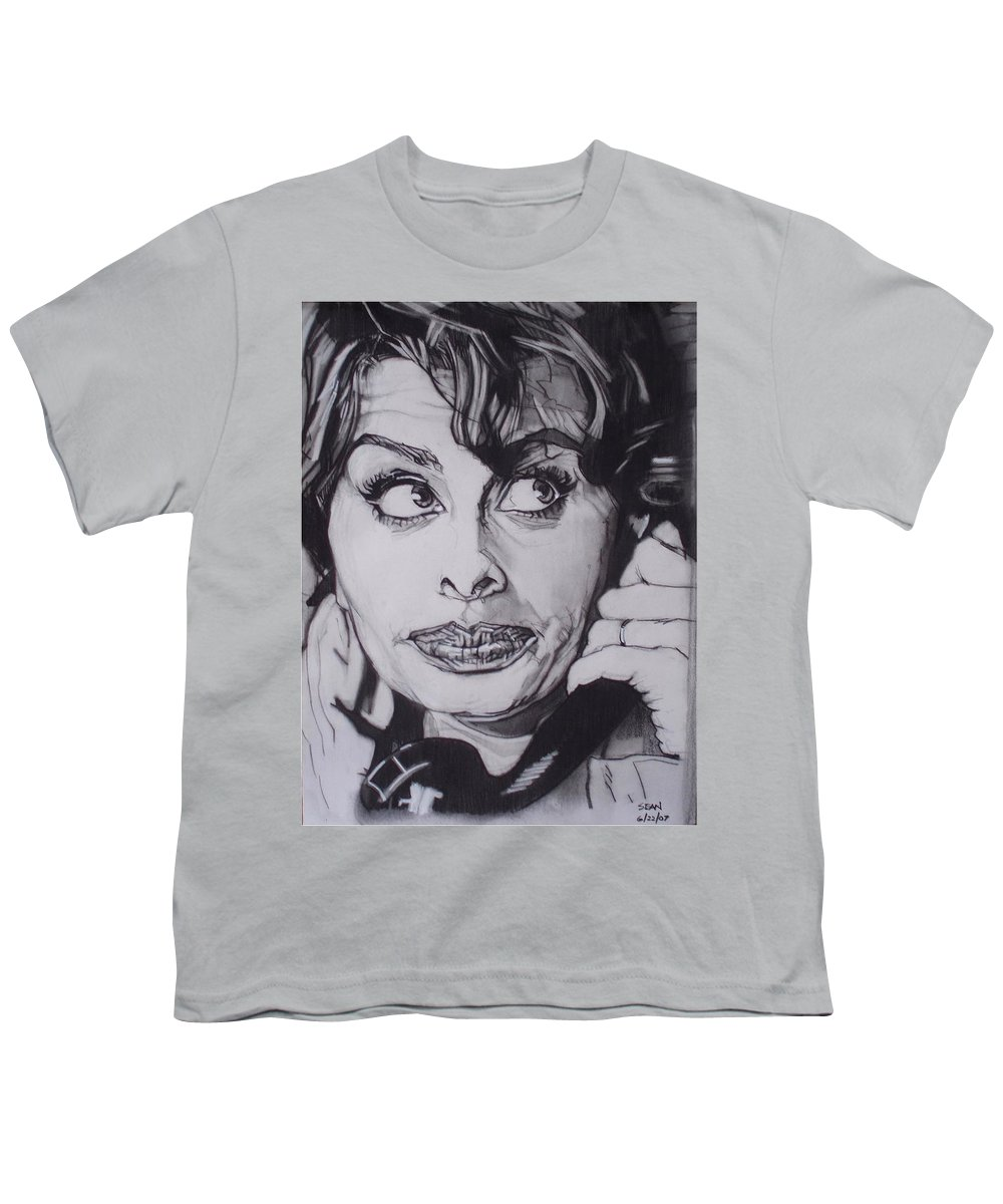 Charcoal;icon;actress;diva;italian;cat Eyes;beautiful;cute;adorable Youth T-Shirt featuring the drawing Sophia Loren Telephones by Sean Connolly