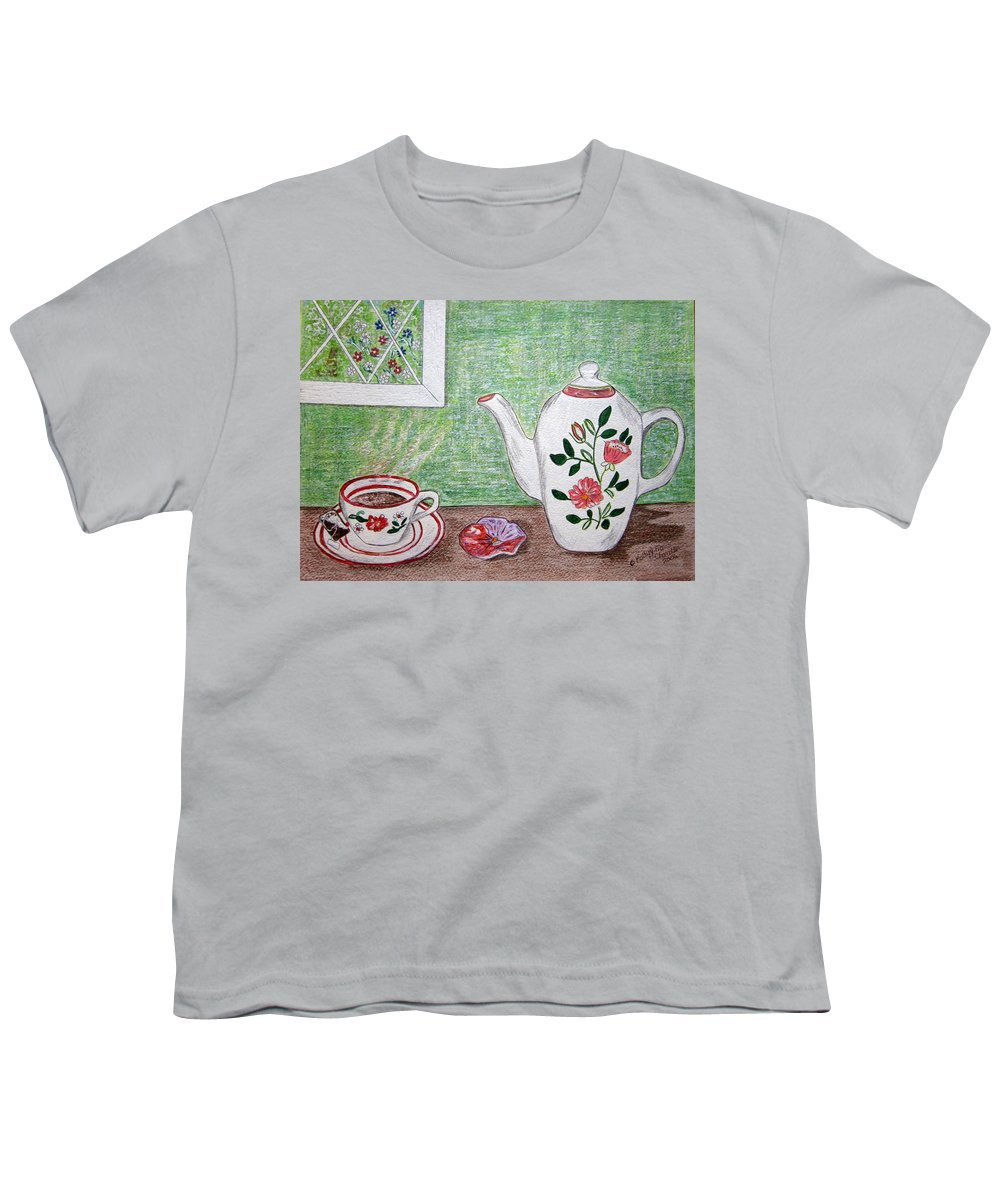 Stangl Pottery Youth T-Shirt featuring the painting Stangl Pottery Rose Pattern by Kathy Marrs Chandler