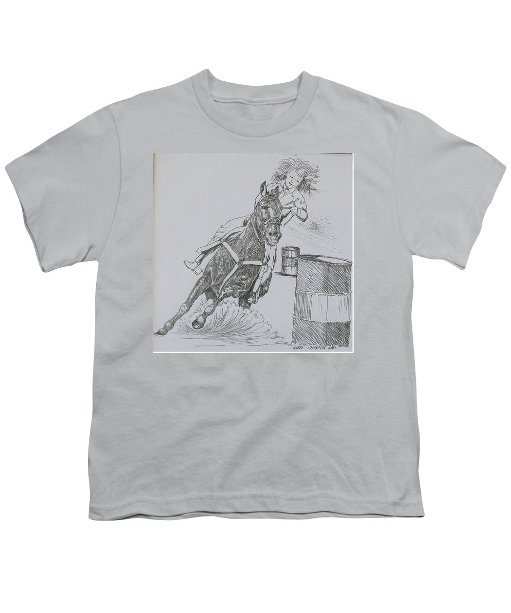 Black And Grey Black Poster Youth T-Shirt featuring the drawing The Barrel Racer by Wanda Dansereau