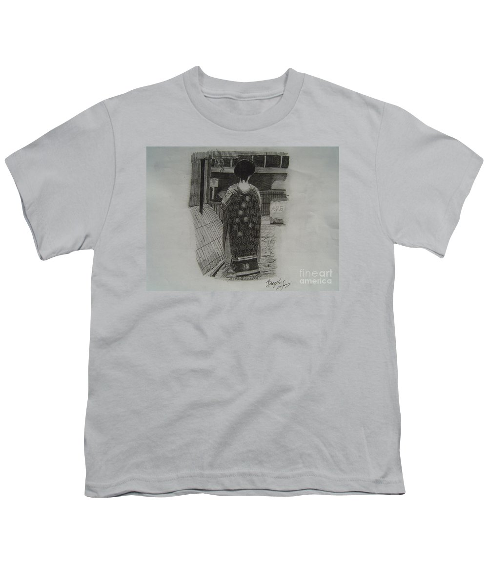 Geisha Youth T-Shirt featuring the drawing The Geisha by Anthony Dunphy
