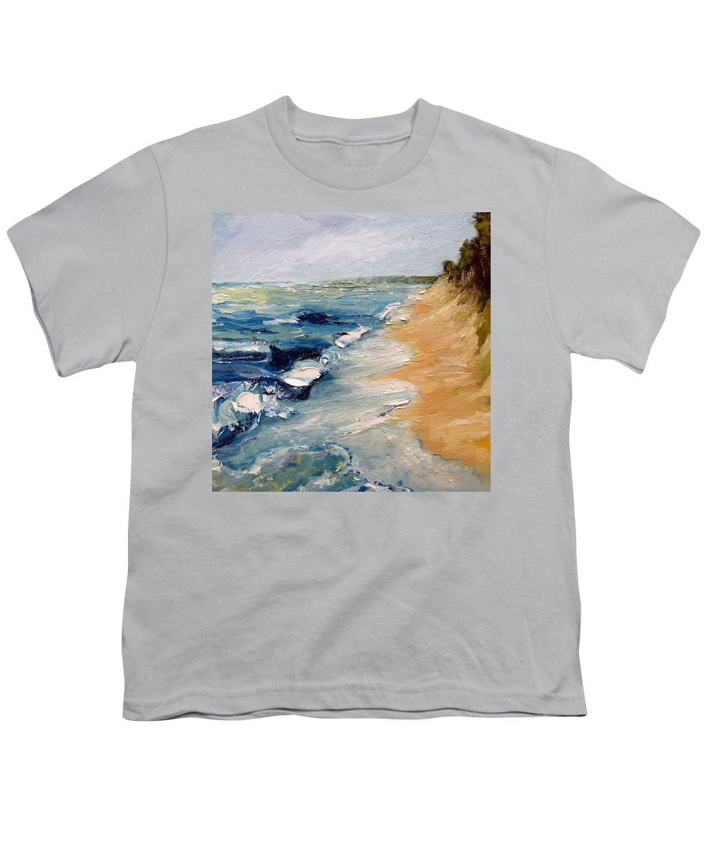 Whitecaps Youth T-Shirt featuring the painting Whitecaps On Lake Michigan 3.0 by Michelle Calkins
