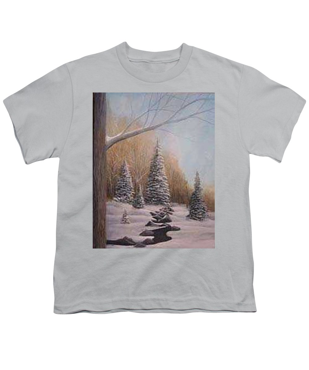 Rick Huotari Youth T-Shirt featuring the painting Winter Morning by Rick Huotari