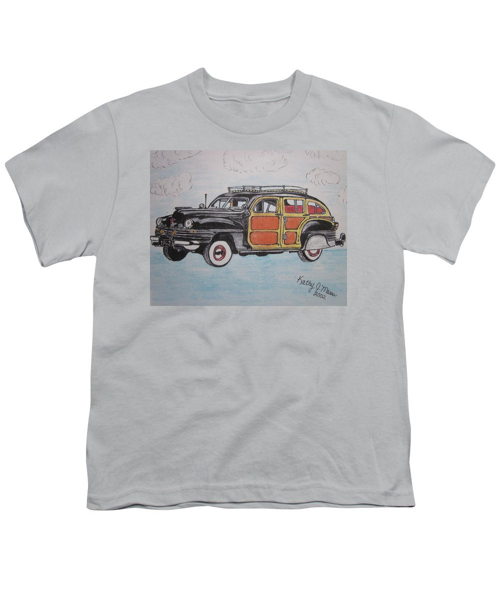 Woodie Youth T-Shirt featuring the painting Woodie Station Wagon by Kathy Marrs Chandler