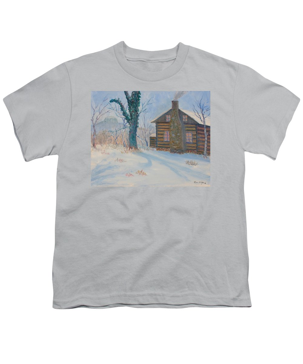 Pilot Mountain Youth T-Shirt featuring the painting Pilot Mountain Lodge by Ben Kiger