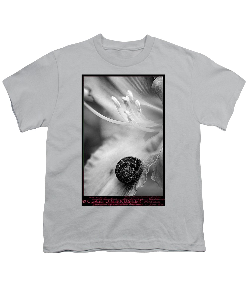 Clay Youth T-Shirt featuring the photograph B And White Floral With Snail by Clayton Bruster