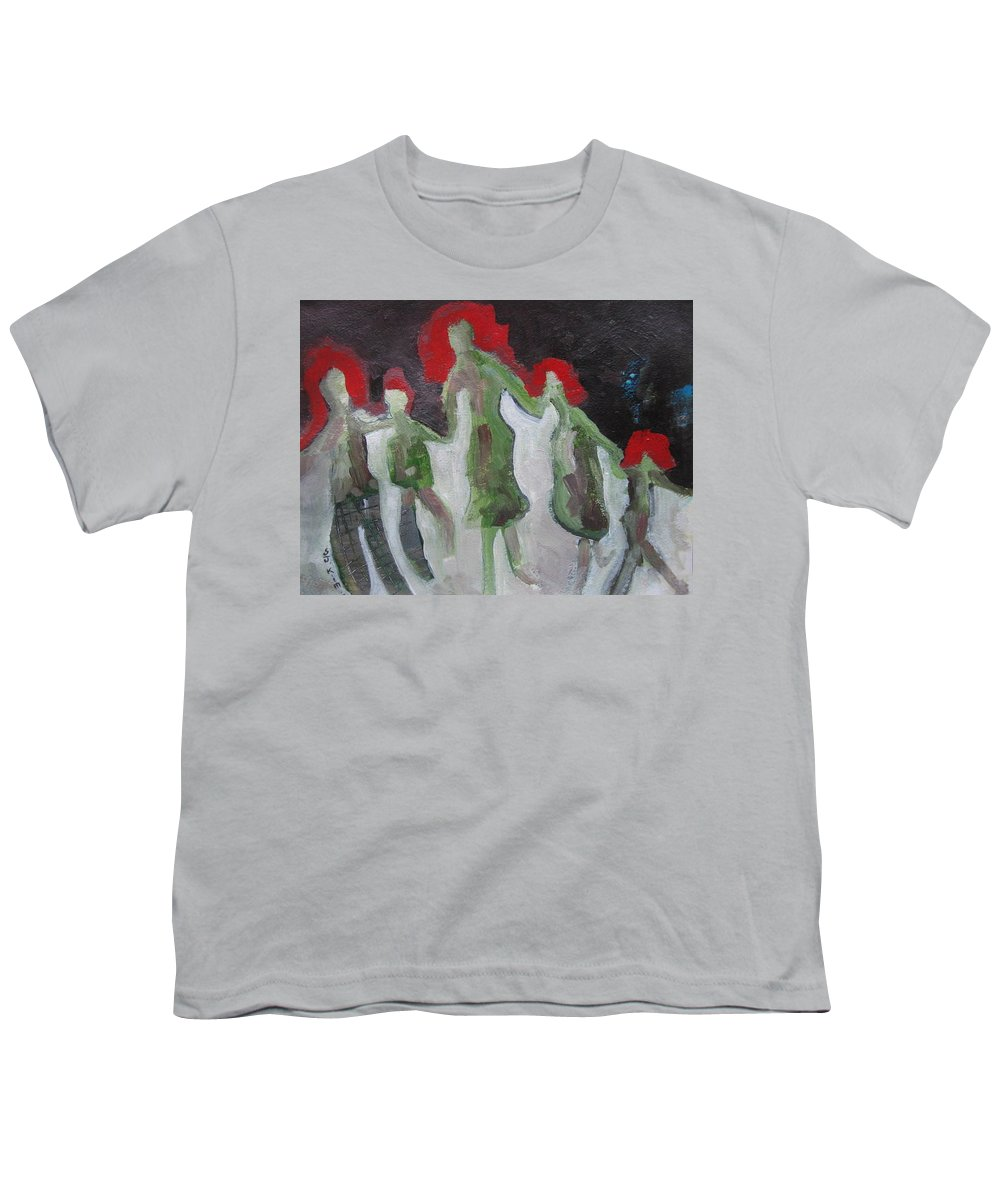 Abstract Paintings Youth T-Shirt featuring the painting Holding Hands by Seon-Jeong Kim