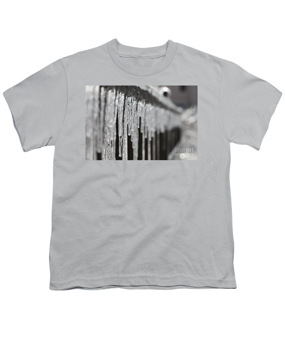 Icicles Youth T-Shirt featuring the photograph Icicles At Attention by Nadine Rippelmeyer