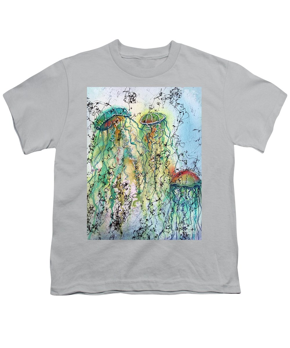 Jellyfish Youth T-Shirt featuring the painting Jellyfish IIi by Midge Pippel