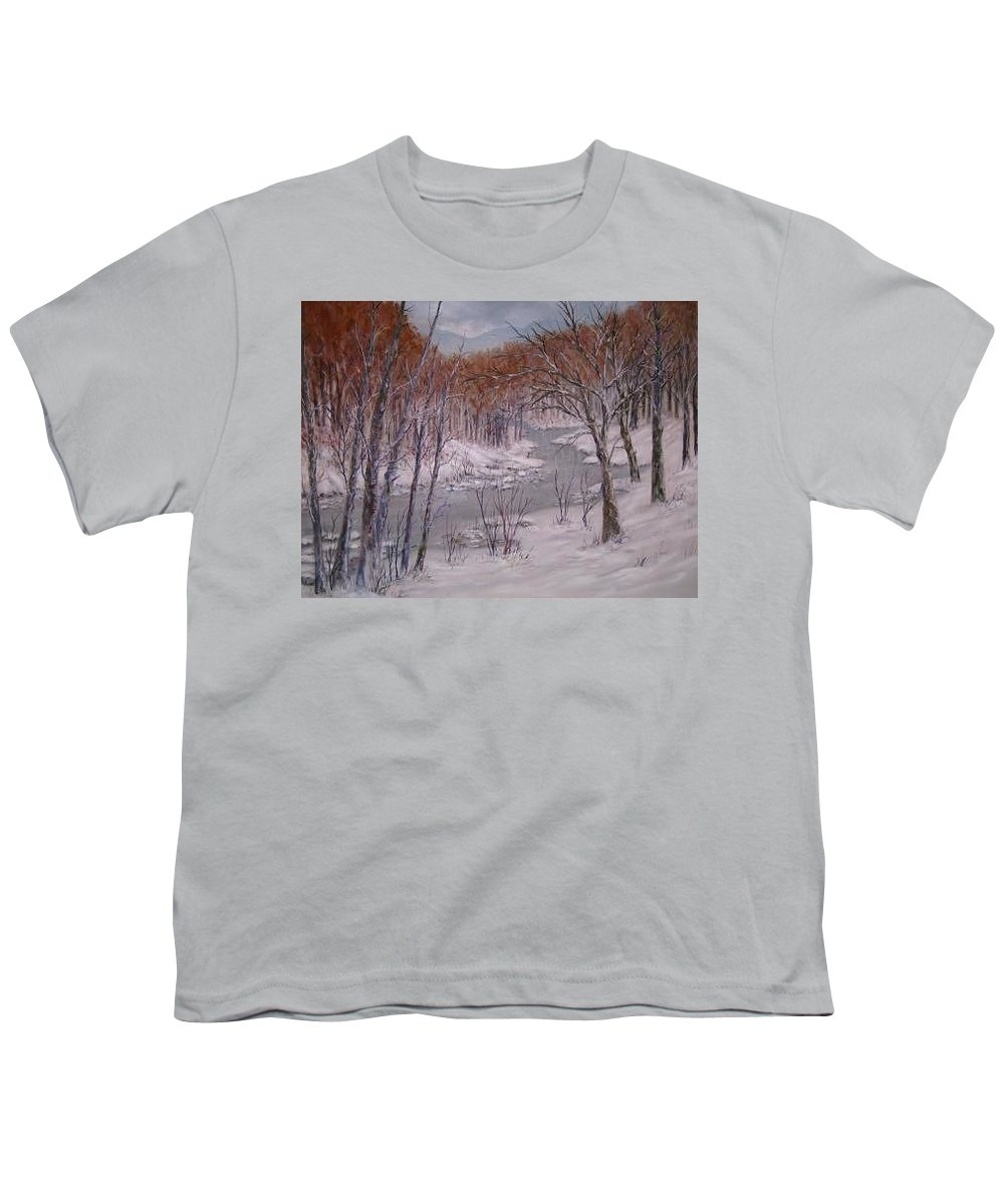 Snow; Landscape Youth T-Shirt featuring the painting Peace And Quiet by Ben Kiger