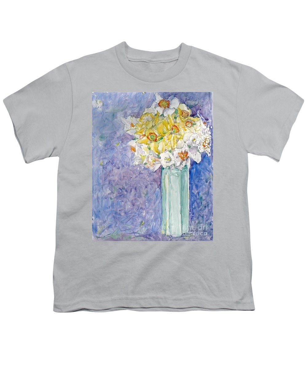 Watercolor Youth T-Shirt featuring the painting Spring Blossoms by Jan Bennicoff