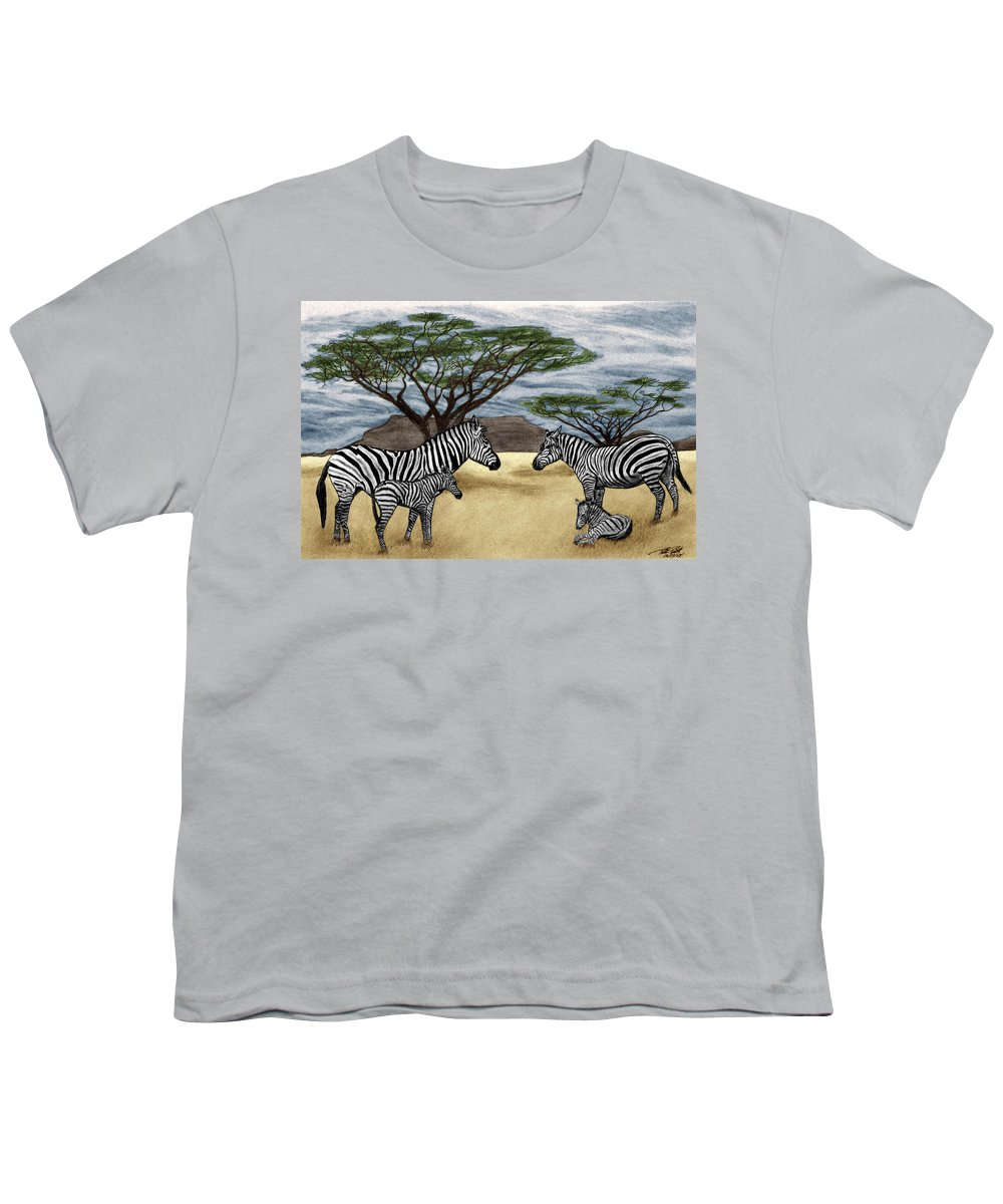 Zebra African Outback Youth T-Shirt featuring the drawing Zebra African Outback by Peter Piatt