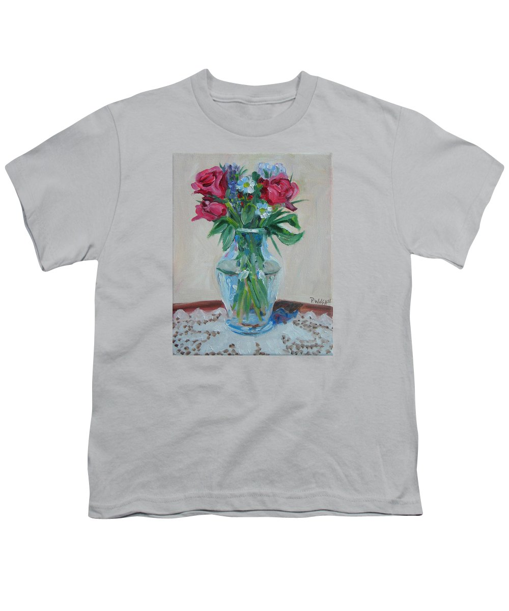 Roses Youth T-Shirt featuring the painting 3 Roses by Paul Walsh