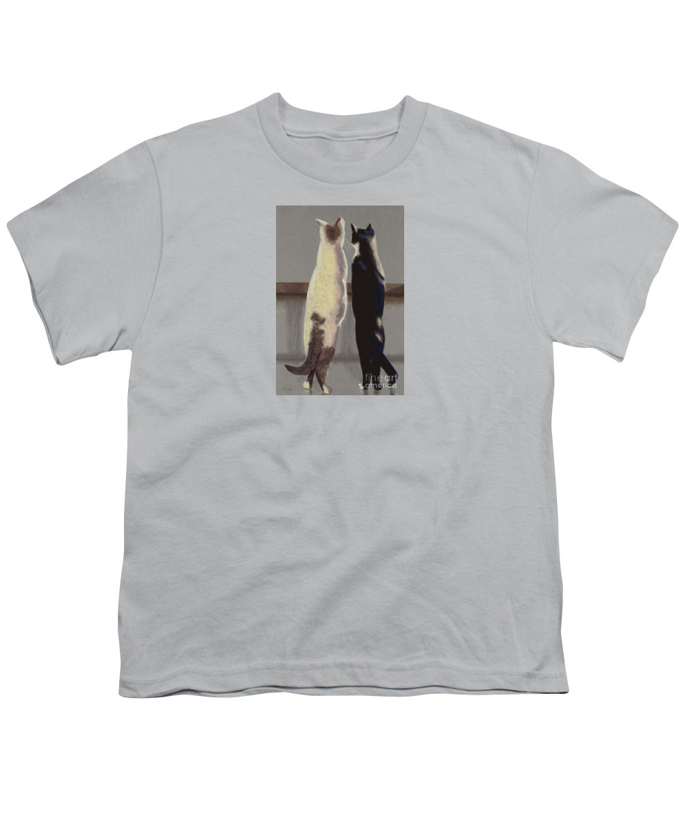 Cat Youth T-Shirt featuring the painting A Bird by Linda Hiller