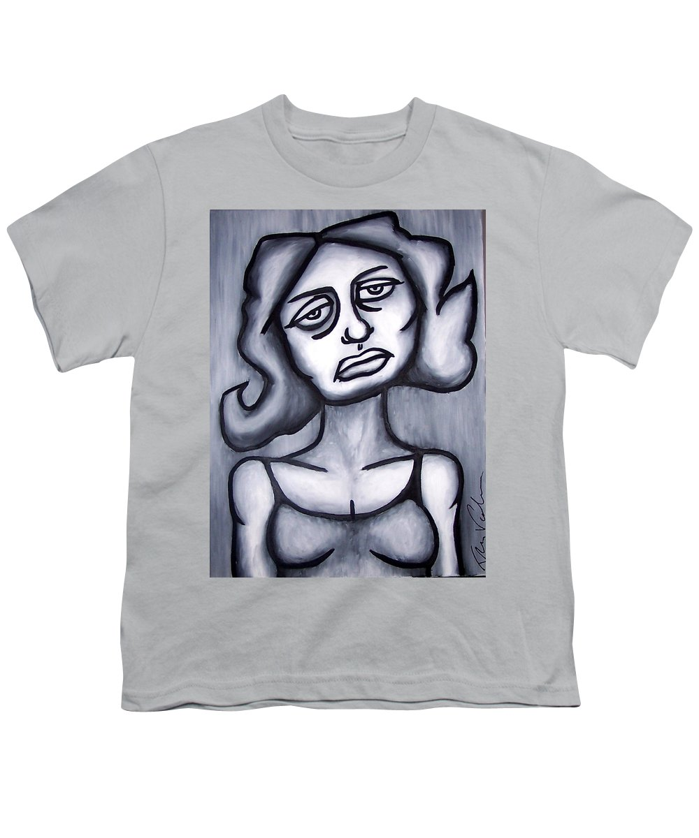 Portait Youth T-Shirt featuring the painting A Woman by Thomas Valentine