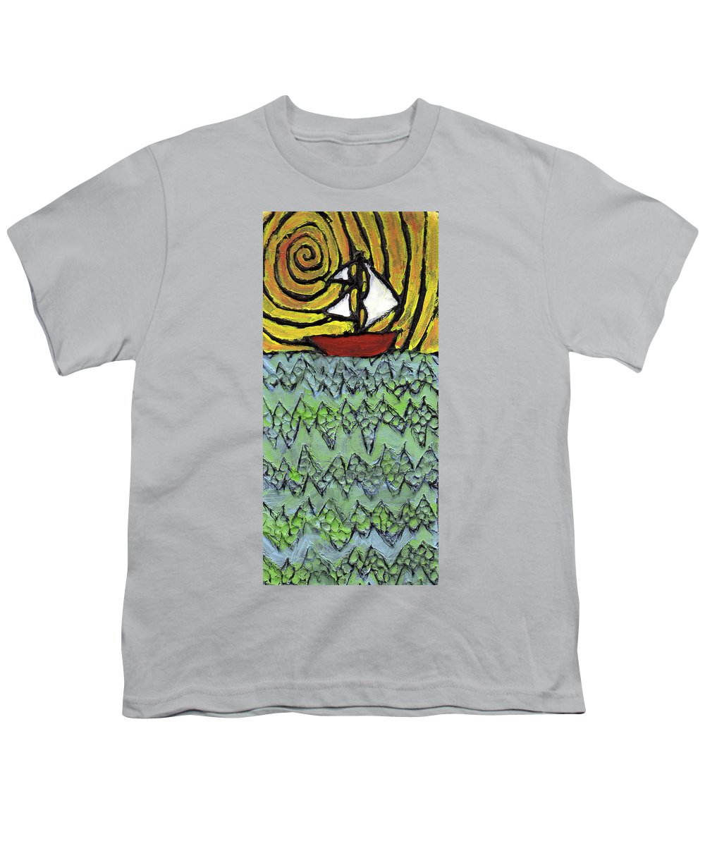 Sailing Youth T-Shirt featuring the painting Afloat On The Bubbling Sea by Wayne Potrafka