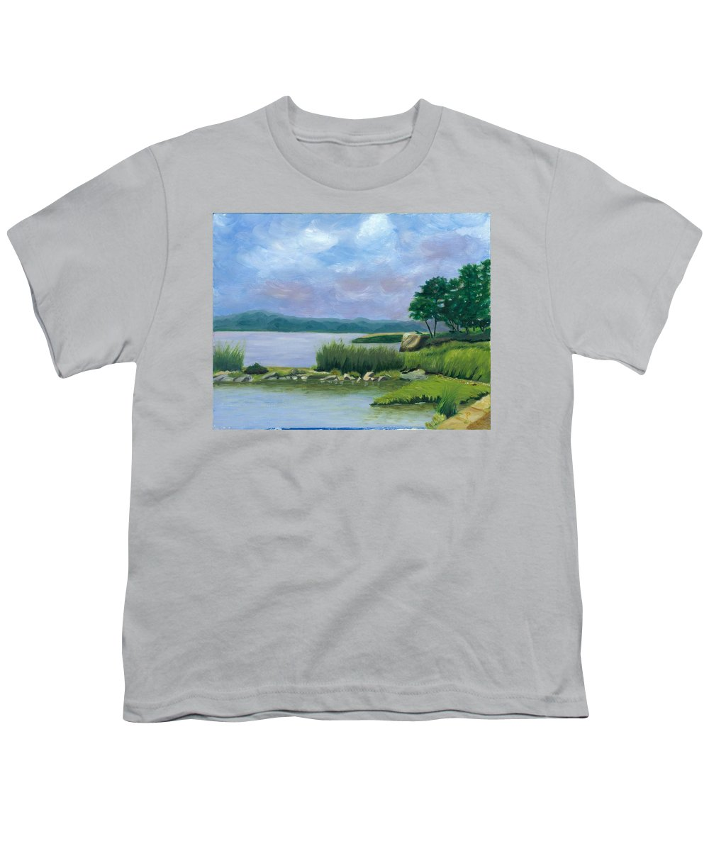 Seascape Youth T-Shirt featuring the painting Afternoon At Pilgrim by Paula Emery