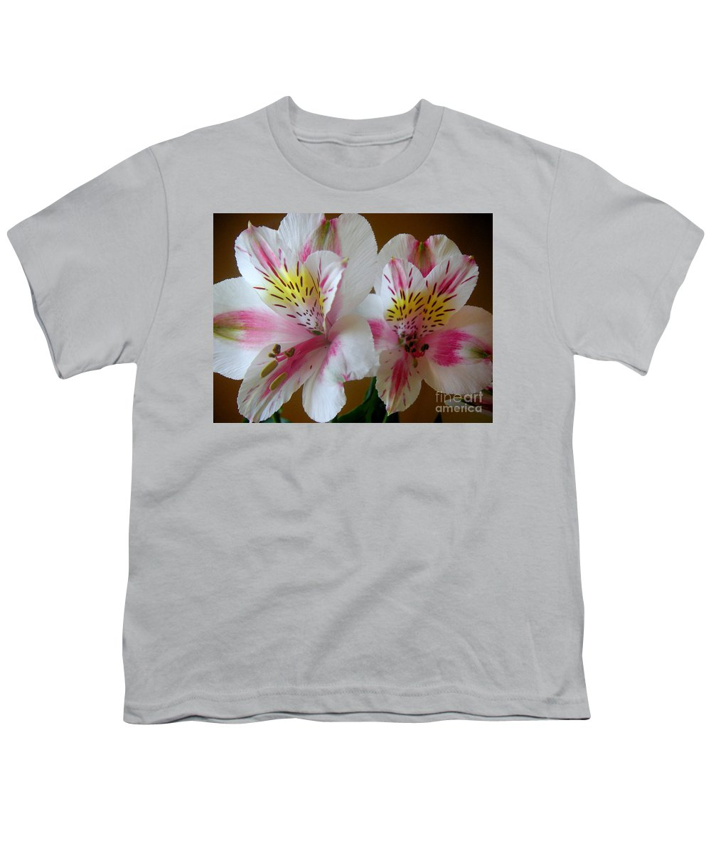 Nature Youth T-Shirt featuring the photograph Alstroemerias - Heralding by Lucyna A M Green