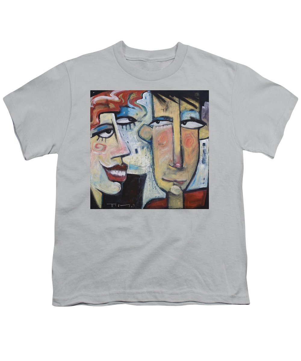 Man Youth T-Shirt featuring the painting An Uncomfortable Attraction by Tim Nyberg