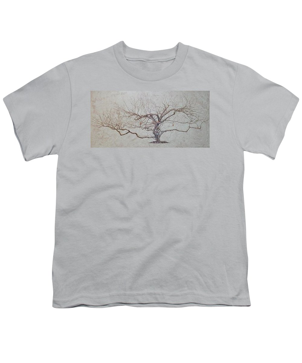 Apple Tree Youth T-Shirt featuring the painting Apple Tree In Winter by Leah Tomaino