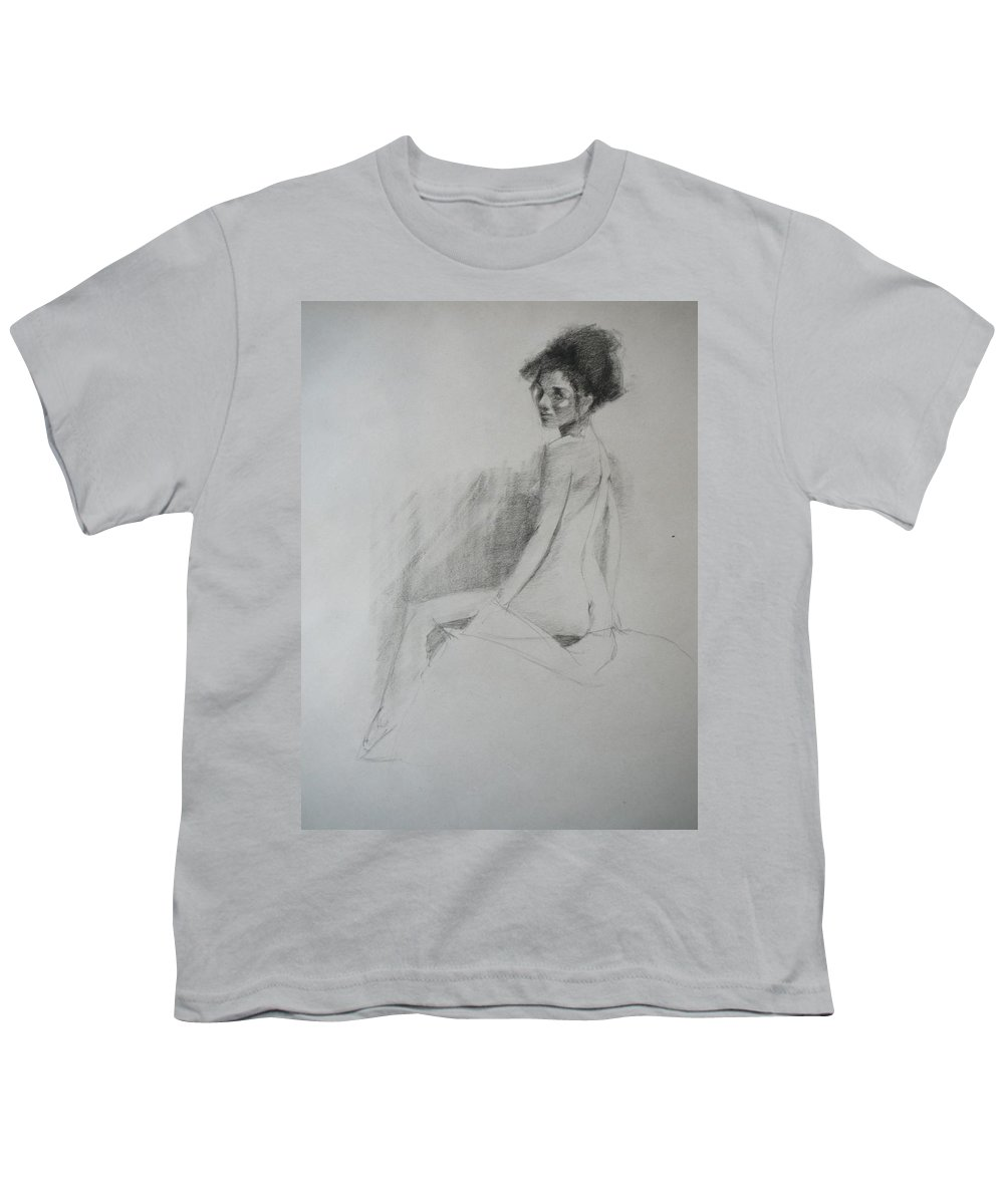 Big Hair Youth T-Shirt featuring the drawing Apprehensive Woman by Irena Jablonski
