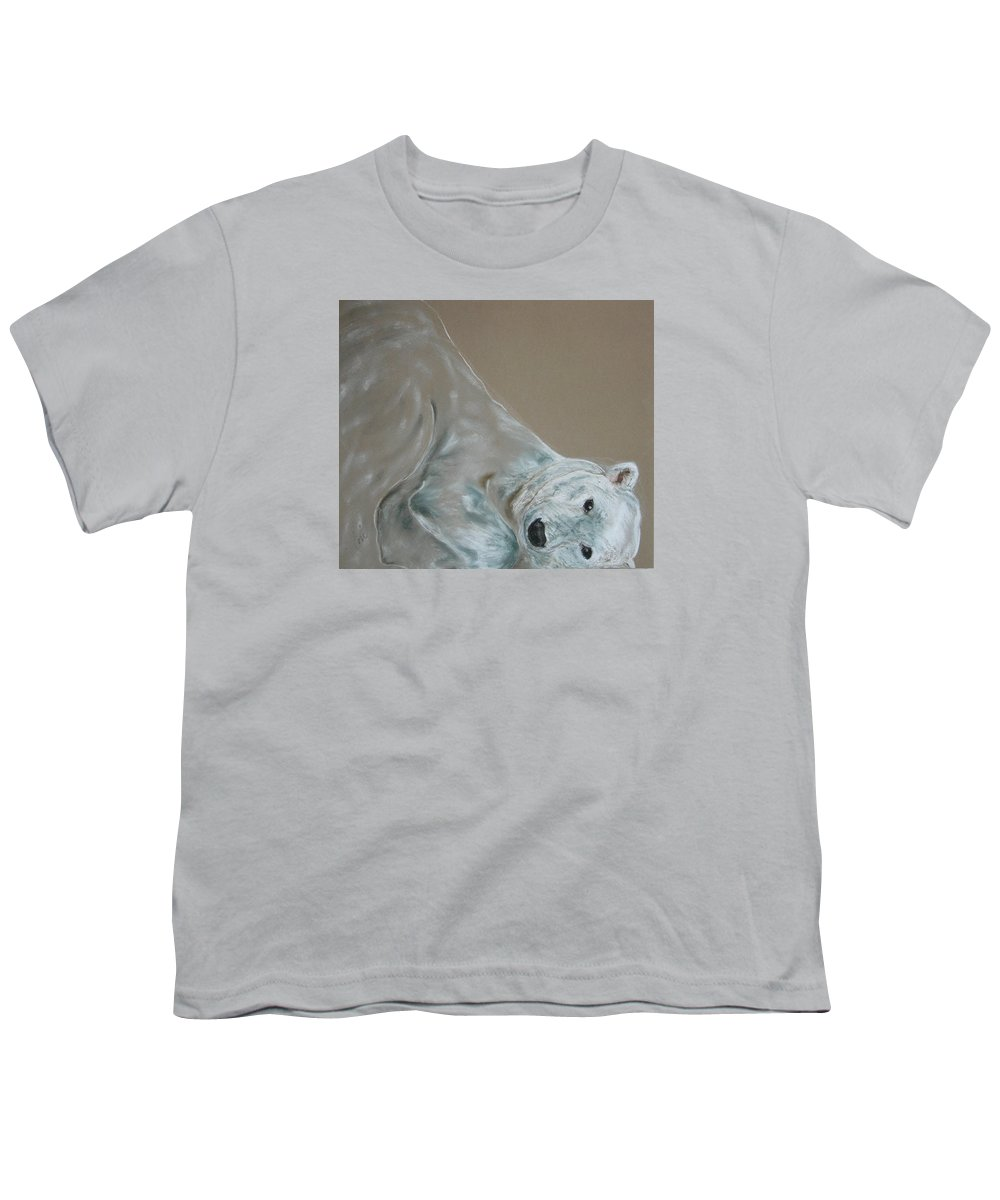 Polar Bear Youth T-Shirt featuring the drawing Arctic Frolic by Cori Solomon
