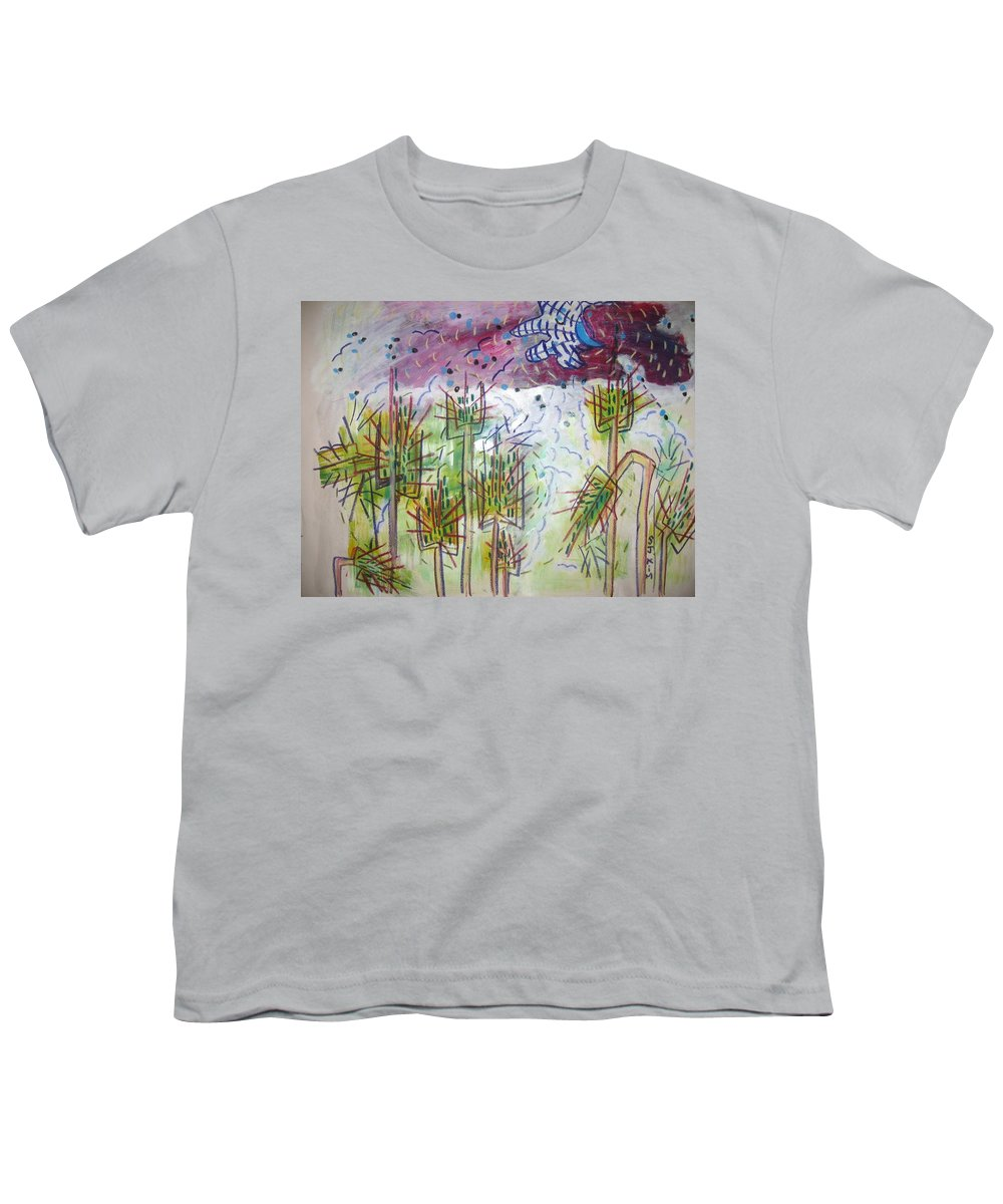 Barly Paintings Youth T-Shirt featuring the painting Barly And The Blue Moon by Seon-Jeong Kim