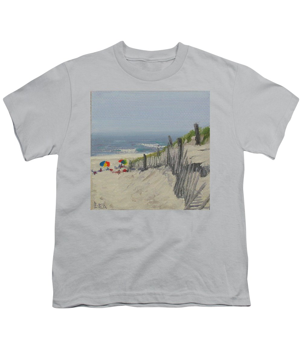 Beach Youth T-Shirt featuring the painting Beach Scene Miniature by Lea Novak
