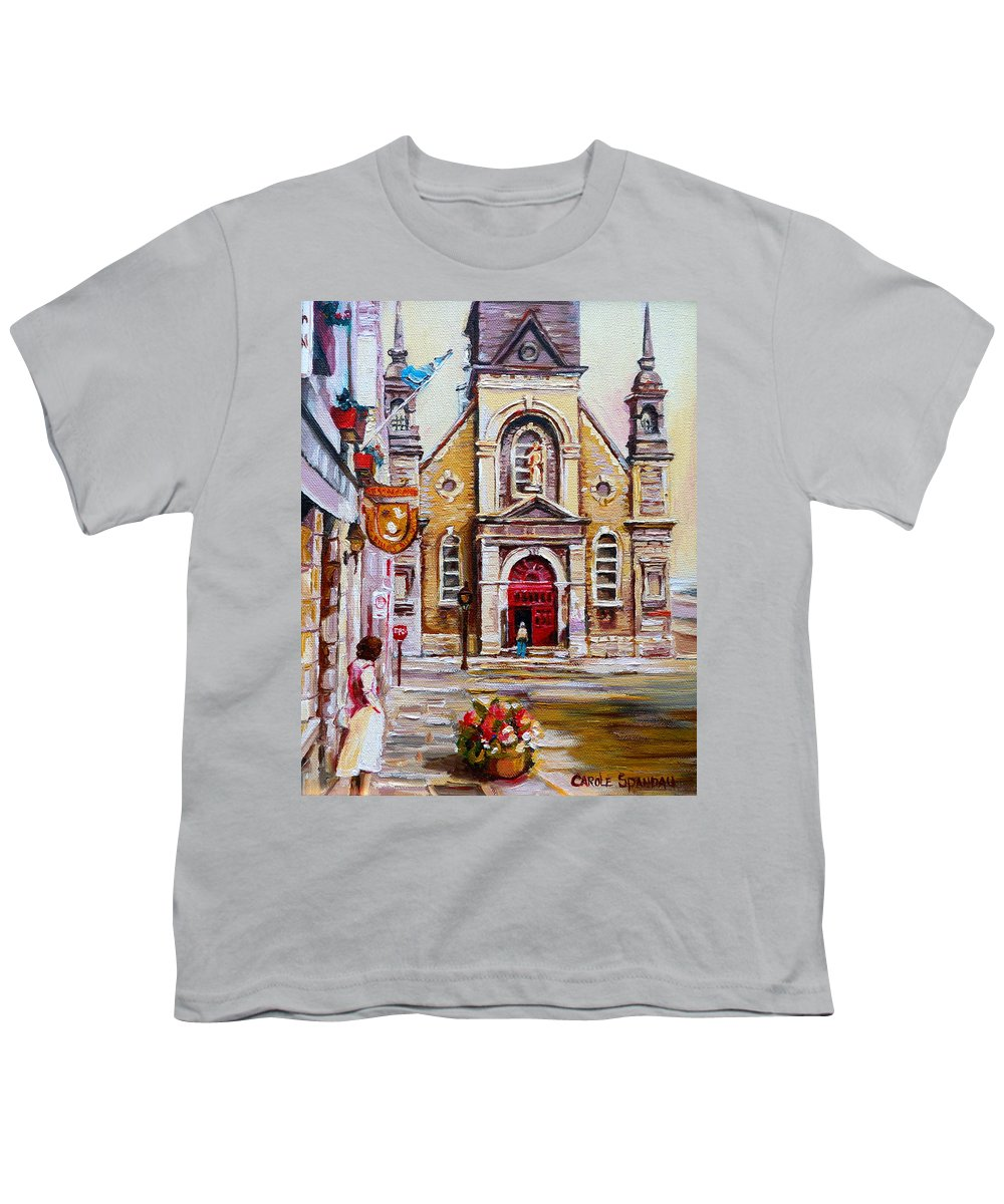 Montreal Churches Youth T-Shirt featuring the painting Bonsecours Church by Carole Spandau