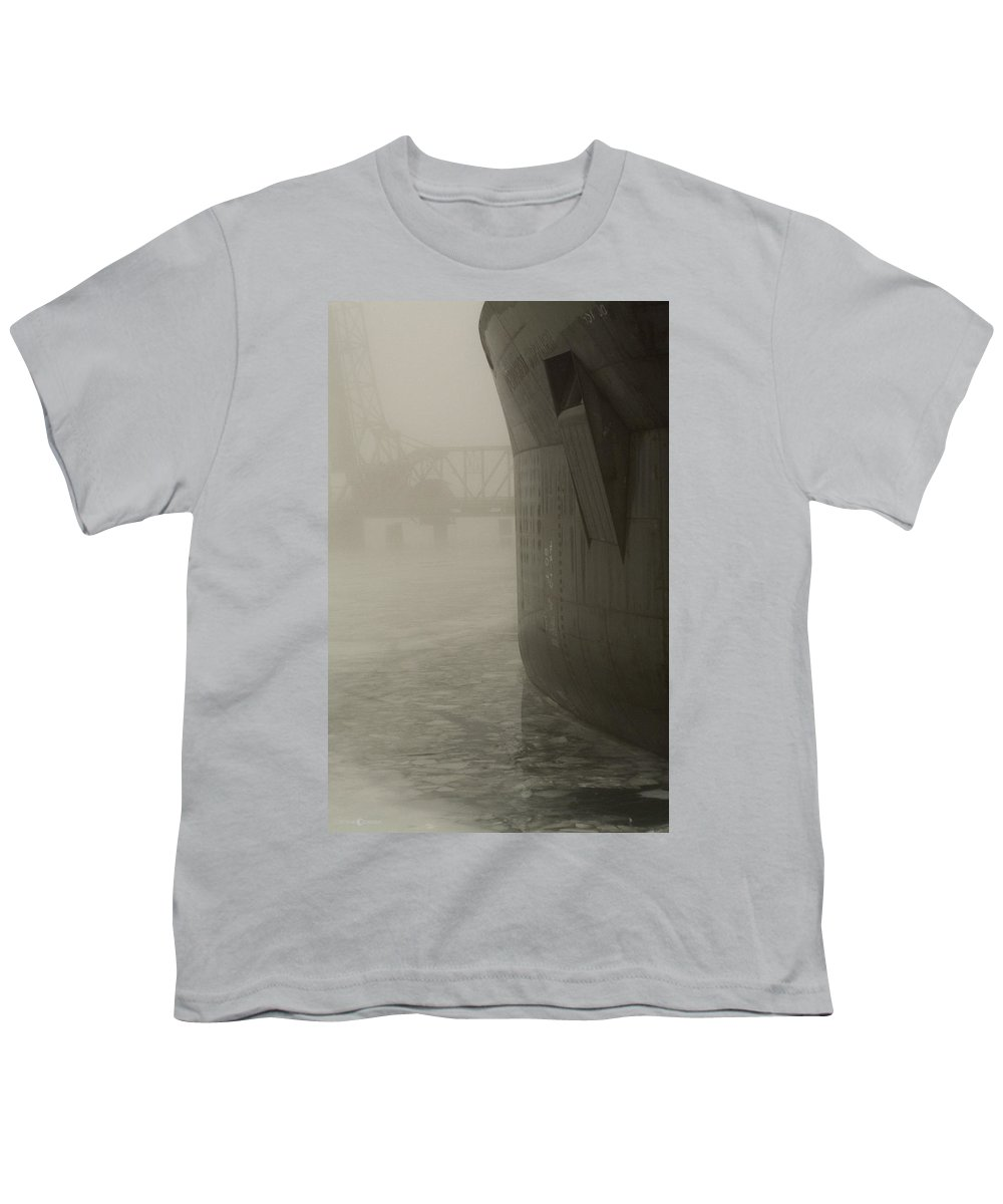 Water Youth T-Shirt featuring the photograph Bridge And Barge by Tim Nyberg