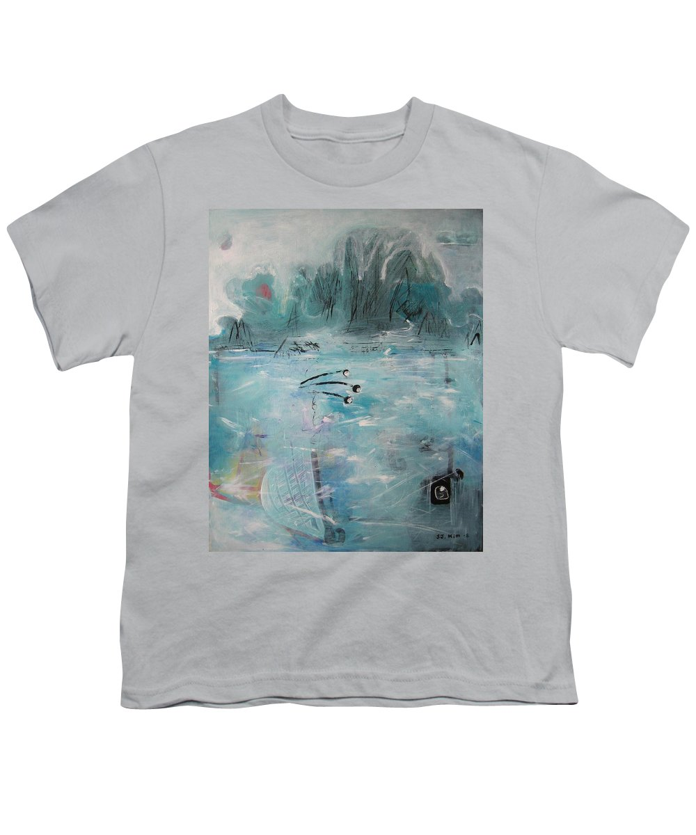 Abstract Paintings Youth T-Shirt featuring the painting Brierly Beach by Seon-Jeong Kim