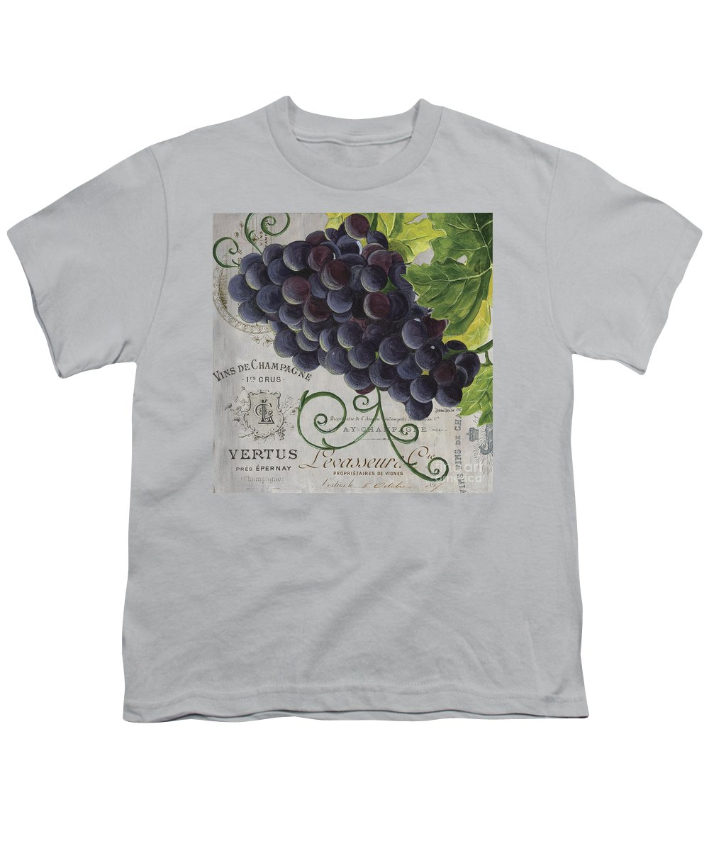 Grapes Youth T-Shirt featuring the painting Vins de Champagne 2 by Debbie DeWitt