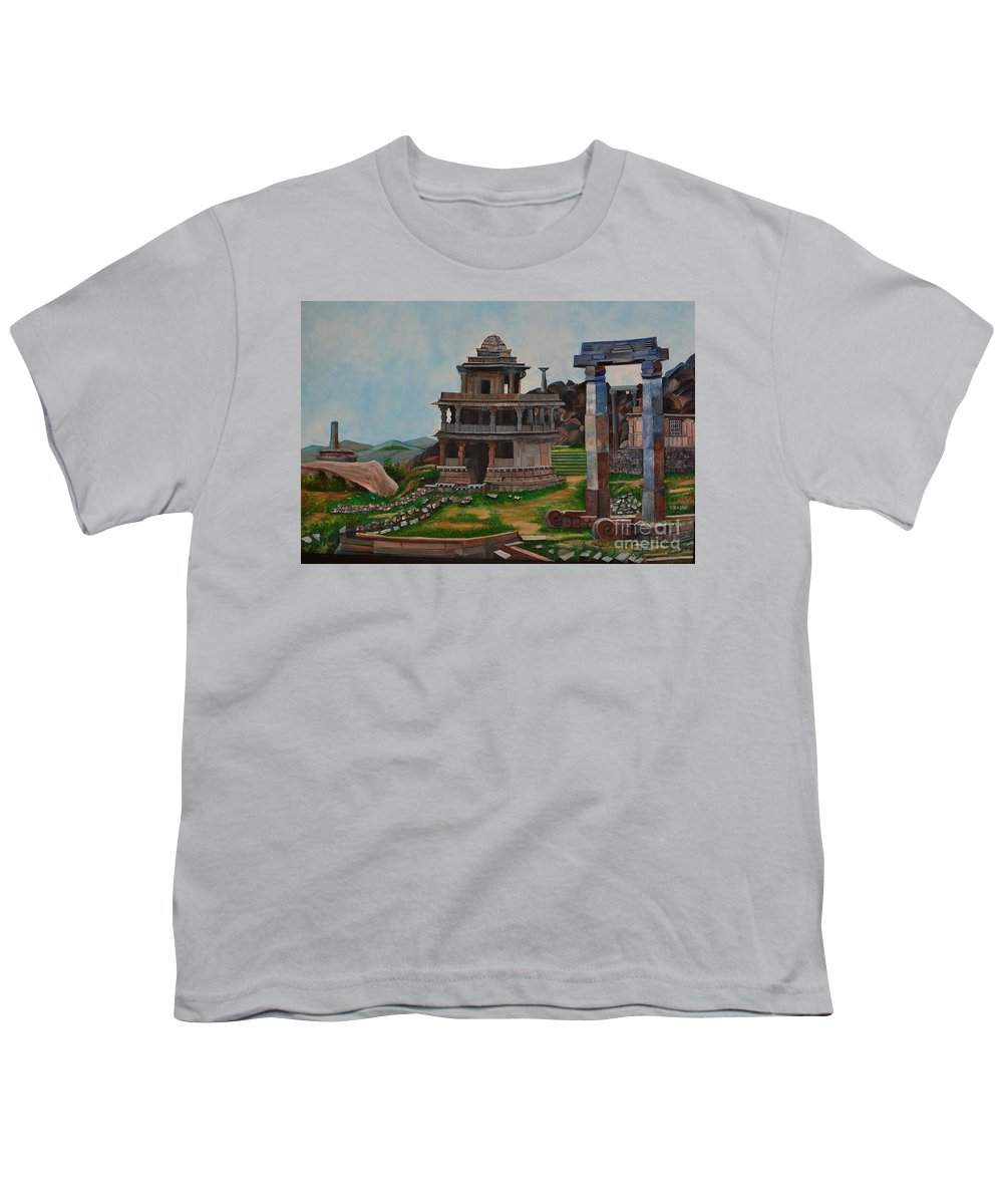 Landscape Youth T-Shirt featuring the painting Cithradurga Fort by Usha Rai