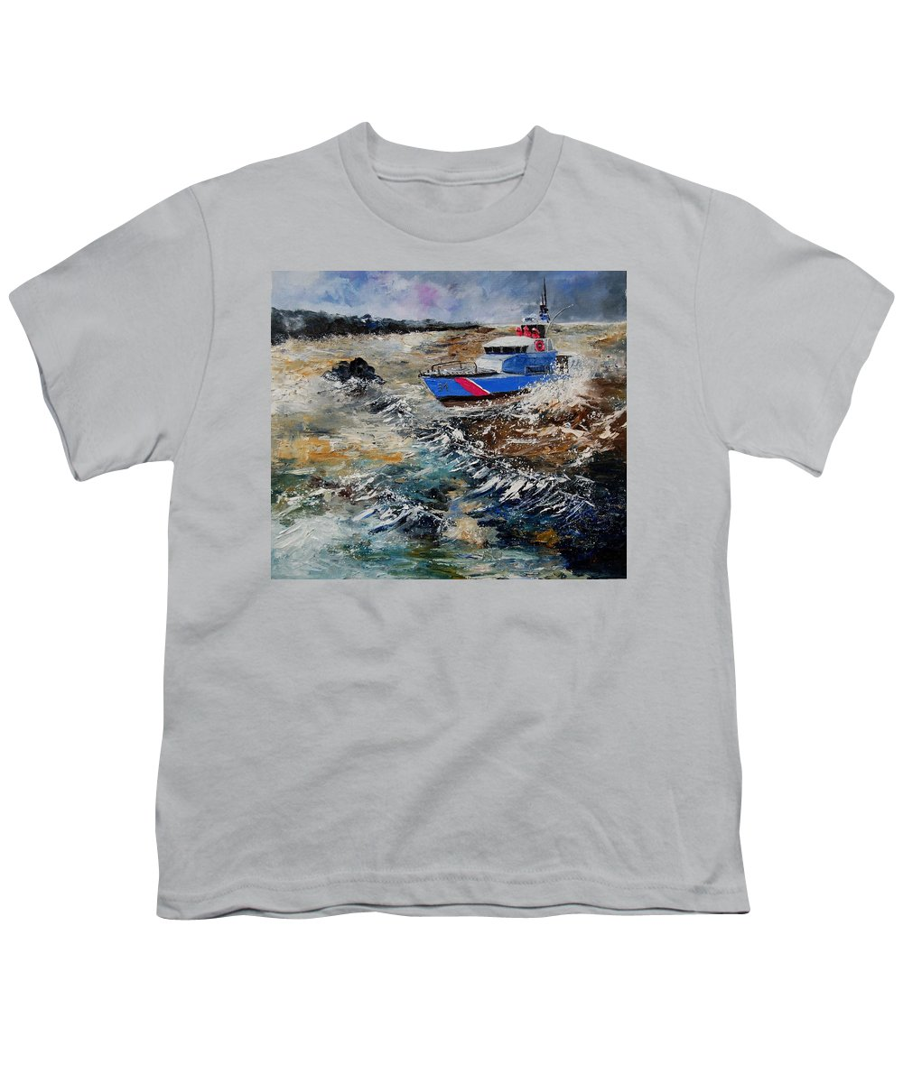 Sea Youth T-Shirt featuring the painting Coastguards by Pol Ledent