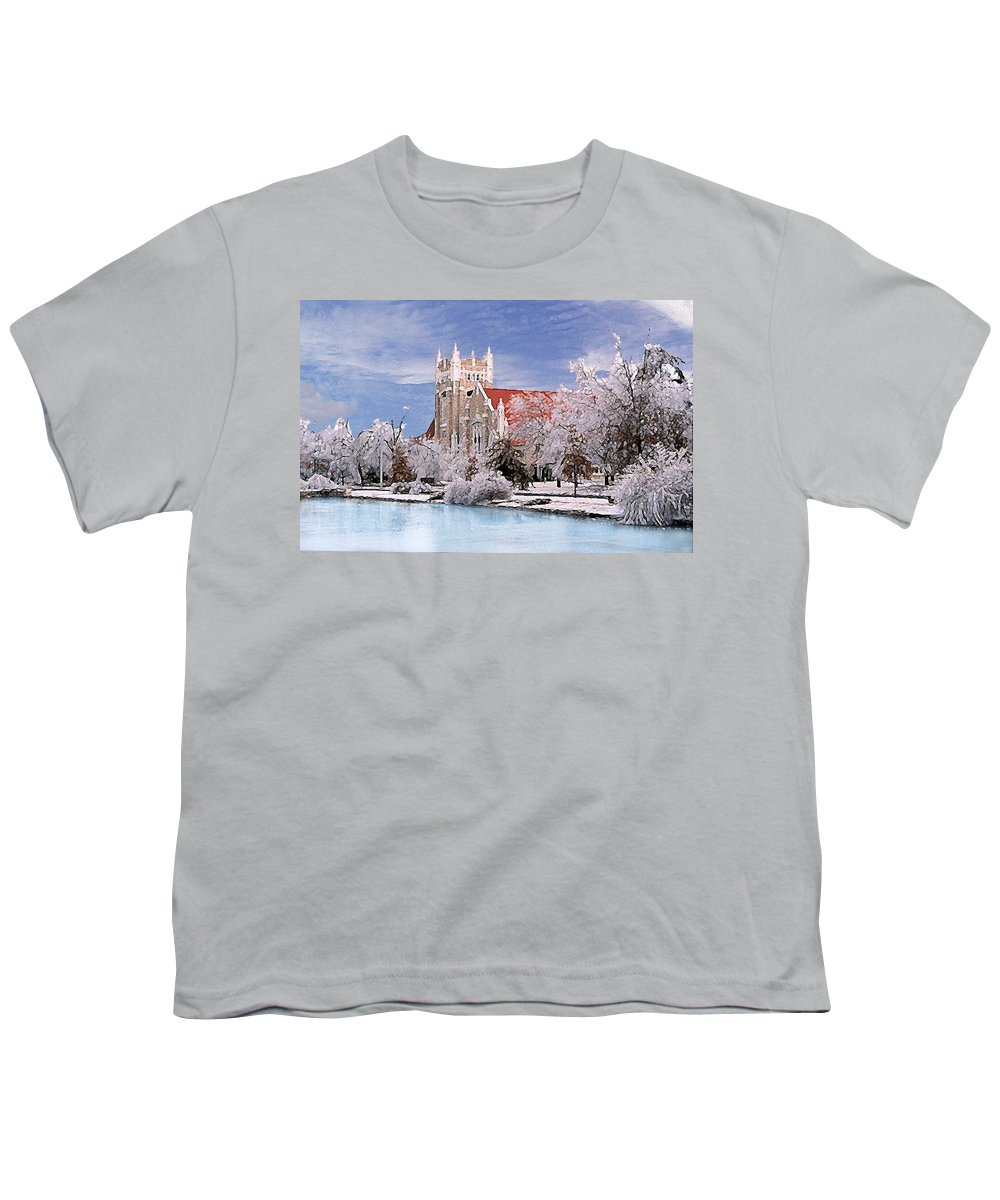 Winter Youth T-Shirt featuring the photograph Country Club Christian Church by Steve Karol