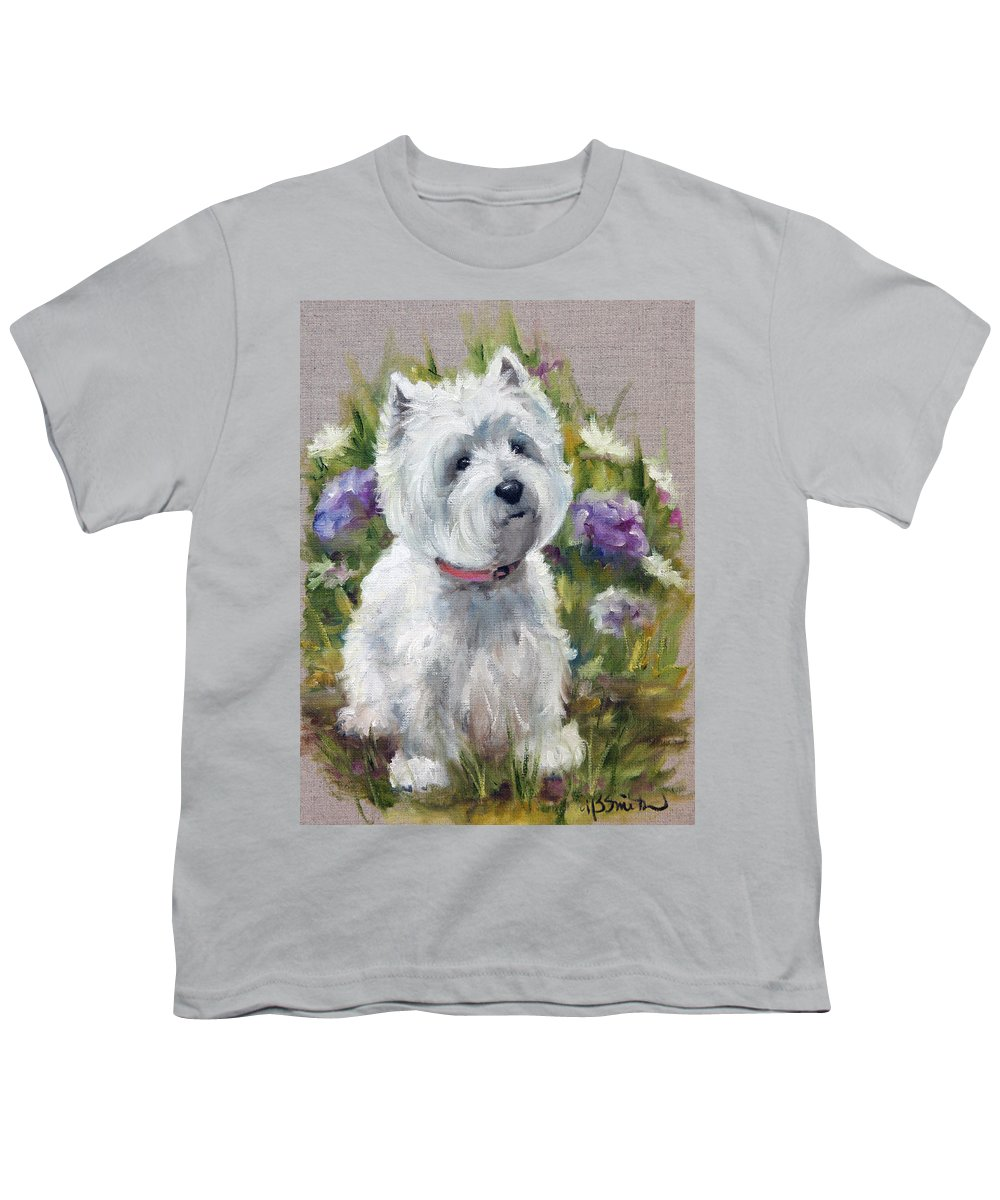 Art Youth T-Shirt featuring the painting Curiosity by Mary Sparrow