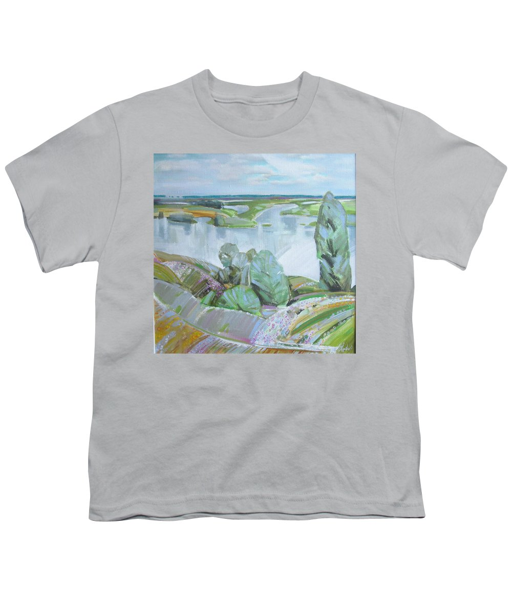 Landscape Youth T-Shirt featuring the painting Dnepro River by Sergey Ignatenko