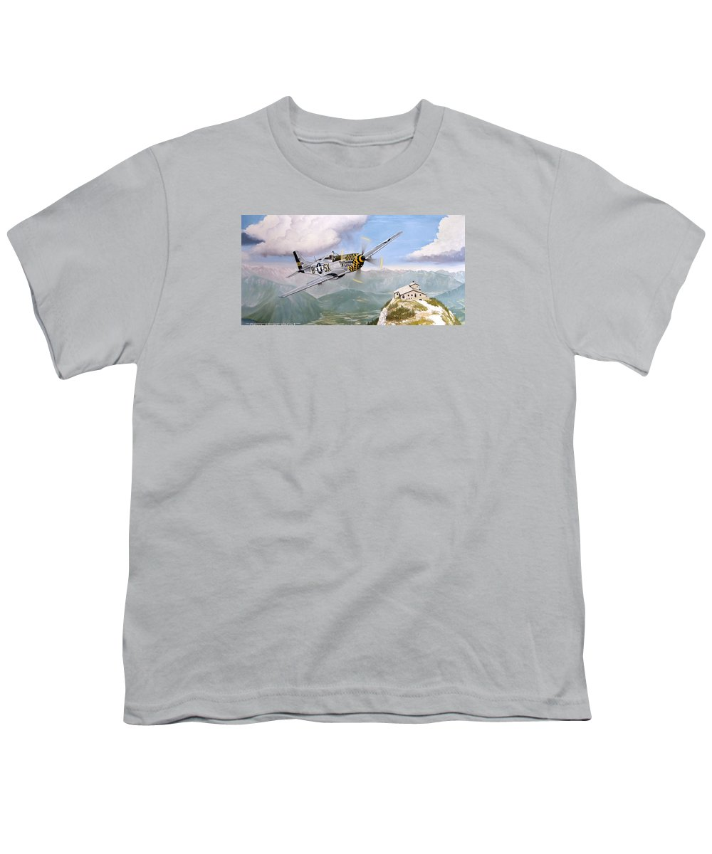 Military Youth T-Shirt featuring the painting Double Trouble Over The Eagle by Marc Stewart