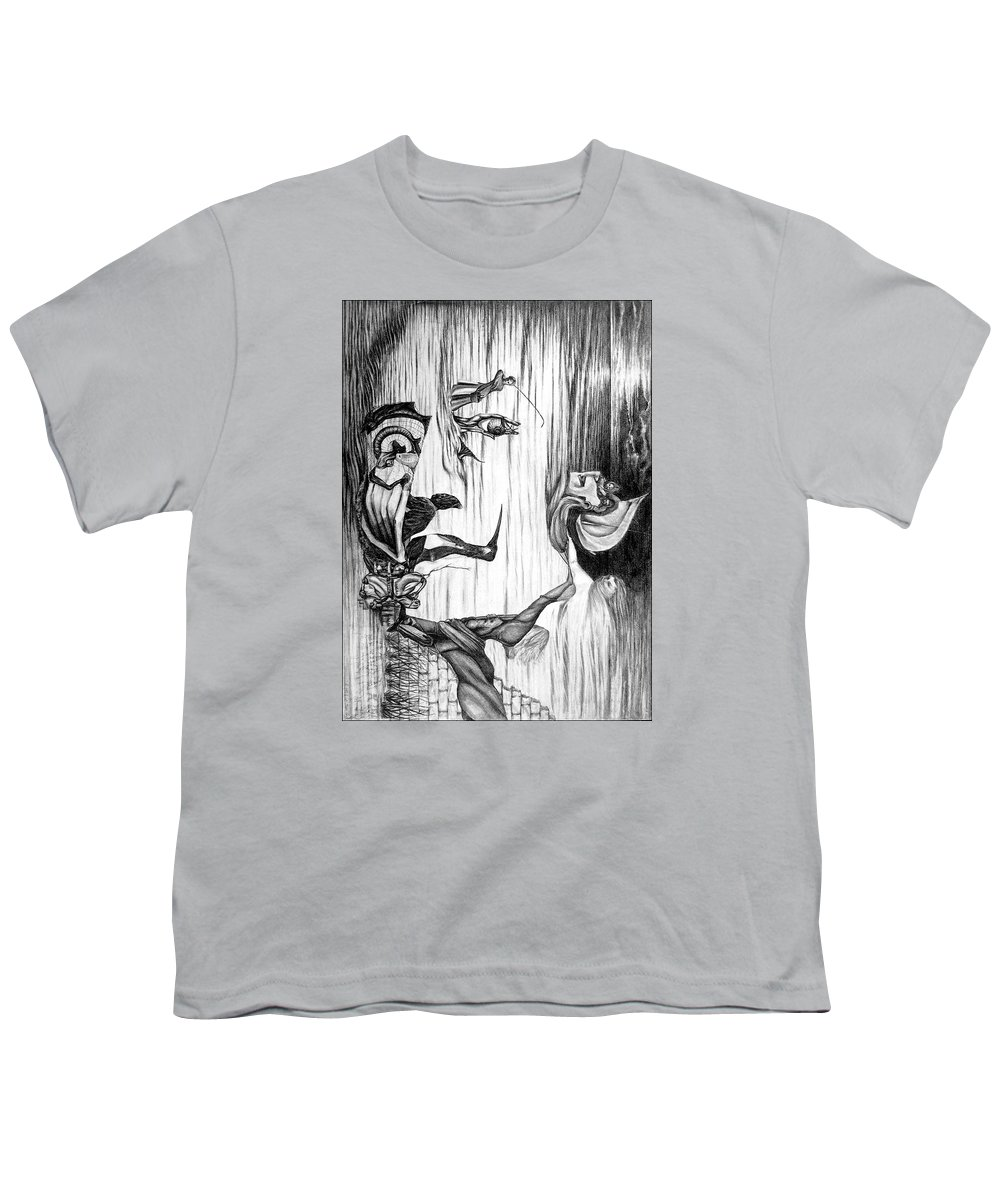 Salvador Dali Youth T-Shirt featuring the drawing Doubly reversible portrait of Salvador Dali by Richard Meric