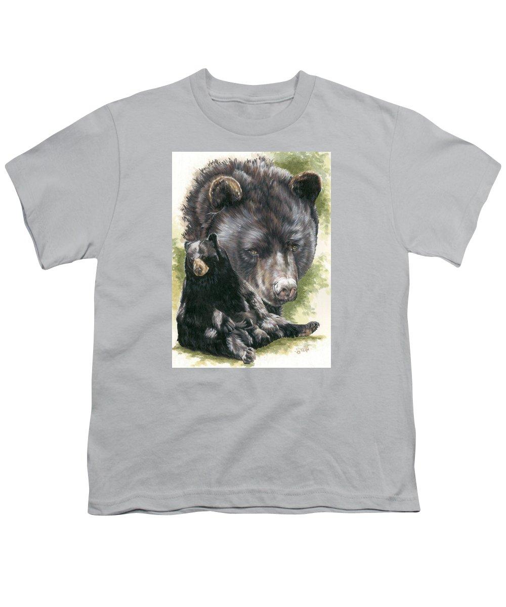 Black Bear Youth T-Shirt featuring the mixed media Ebony by Barbara Keith