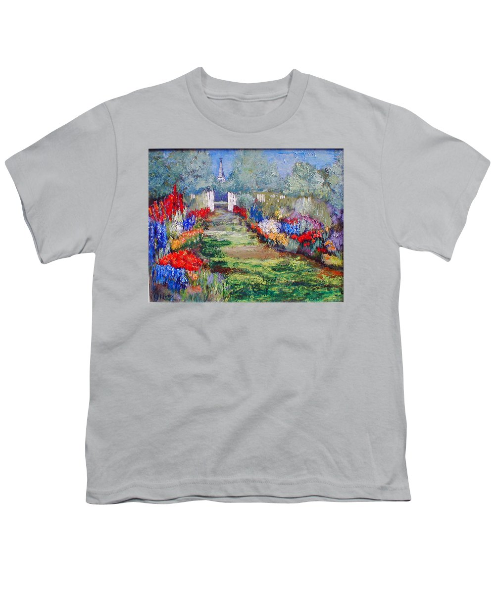 Landscape Youth T-Shirt featuring the painting Enter His Gates by Gail Kirtz