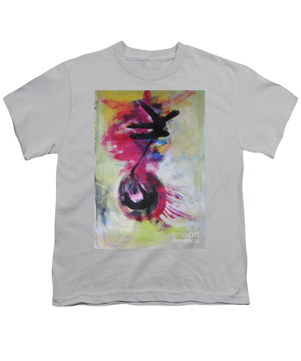 Abstract Paintings Red Paintings Youth T-Shirt featuring the painting Everything A Mistake-abstract Red Painting by Seon-Jeong Kim