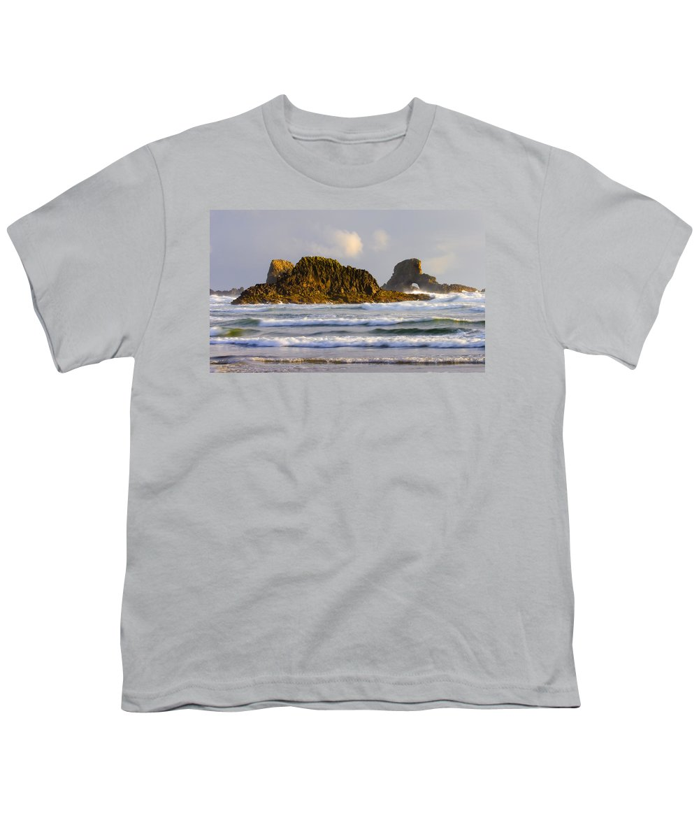 Seastacks Youth T-Shirt featuring the photograph Eye Of The Storm by Mike Dawson