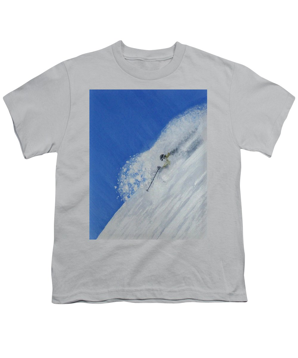 Ski Youth T-Shirt featuring the painting First by Michael Cuozzo