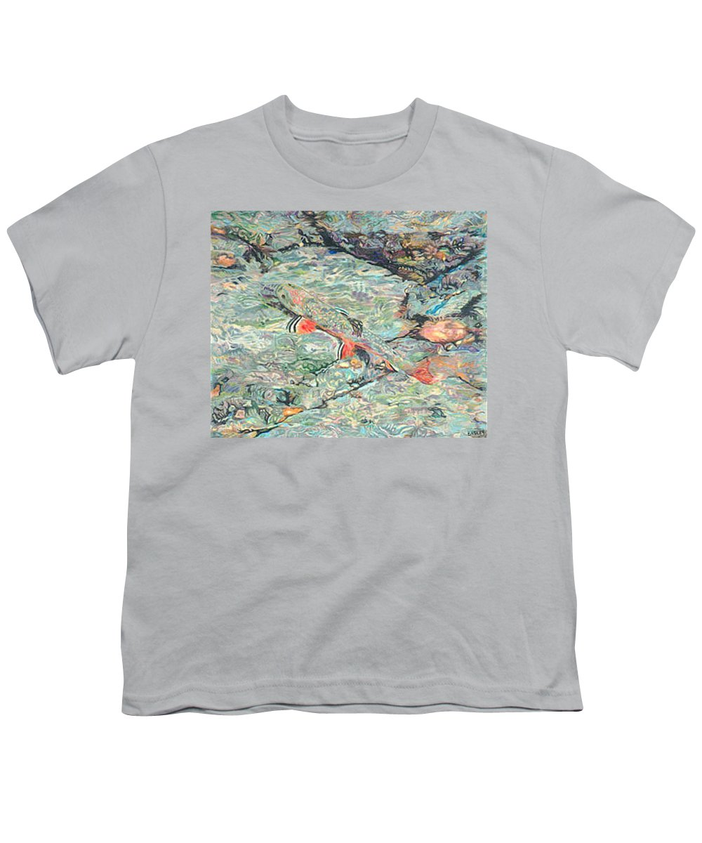 Art Youth T-Shirt featuring the drawing Fish Art Trout Art Brook Trout Brookie Artwork Nature Underwater Wildlife Creek Art River Art Lake by Baslee Troutman