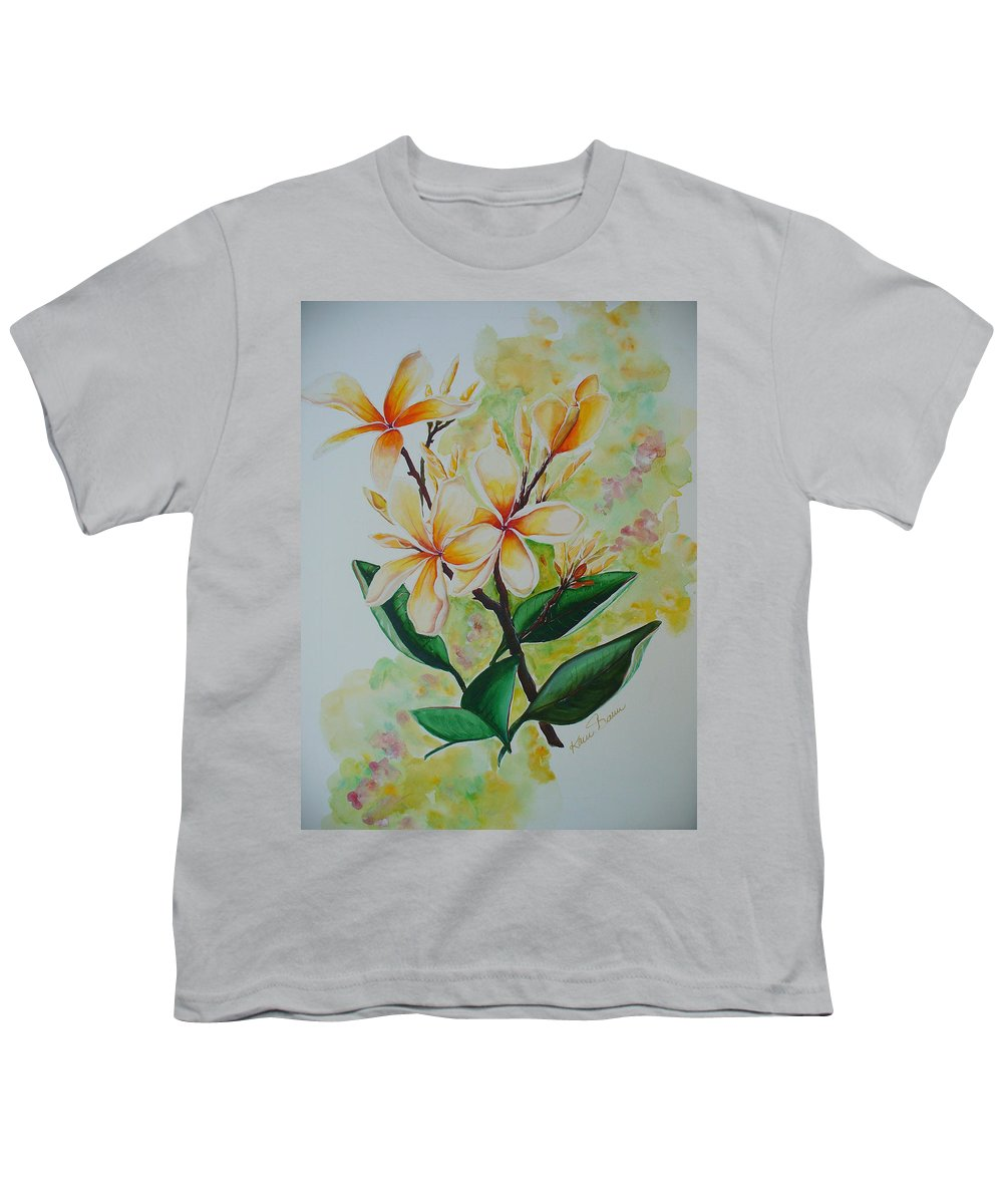 Youth T-Shirt featuring the painting Frangipangi by Karin Dawn Kelshall- Best