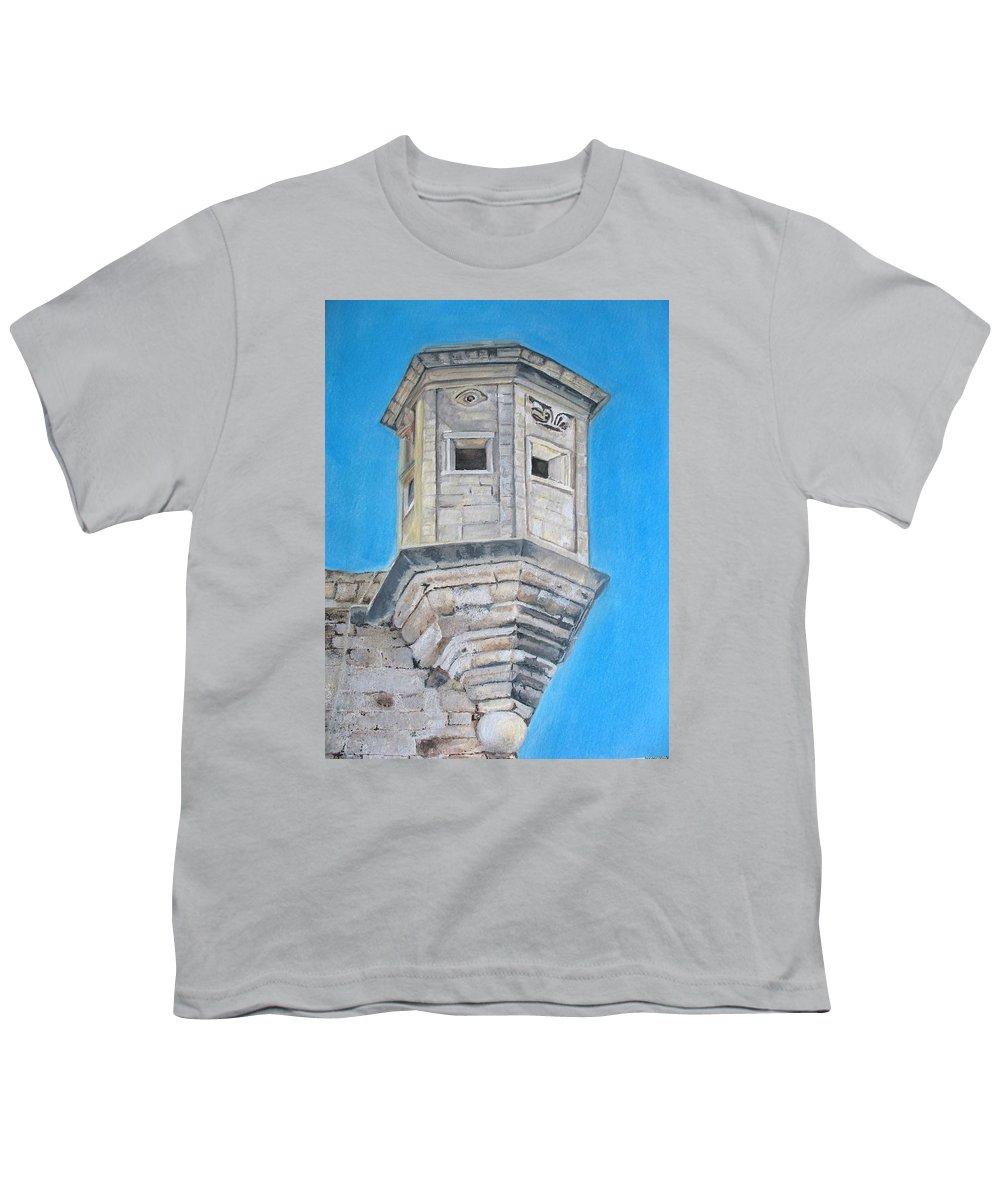 Malta Youth T-Shirt featuring the painting Gardjola by Lisa Cini