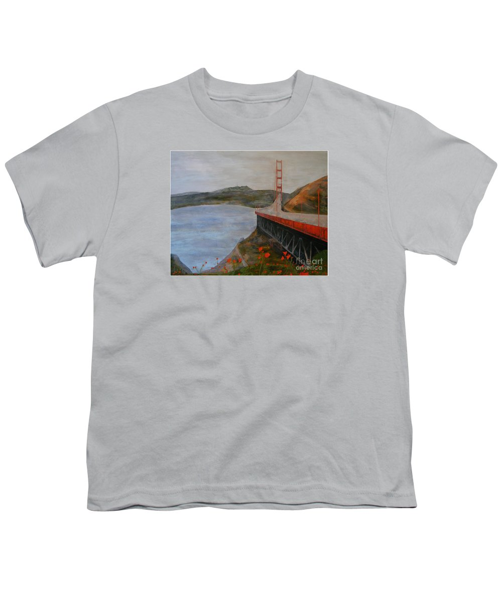 Golden Gate Bridge Youth T-Shirt featuring the painting Golden Gate Bridge by Ellen Beauregard