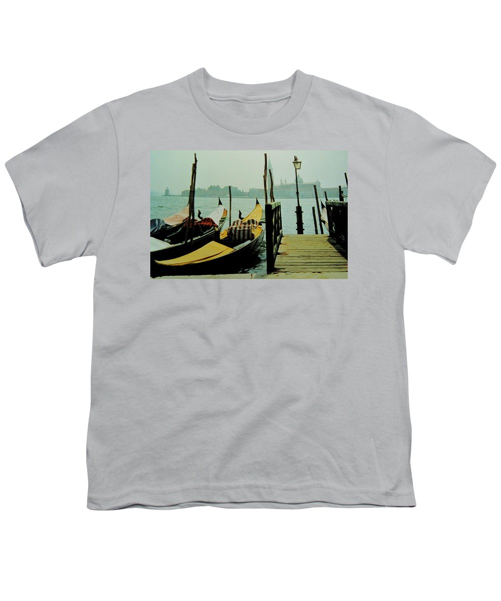 Venice Youth T-Shirt featuring the photograph Gondolas by Ian MacDonald