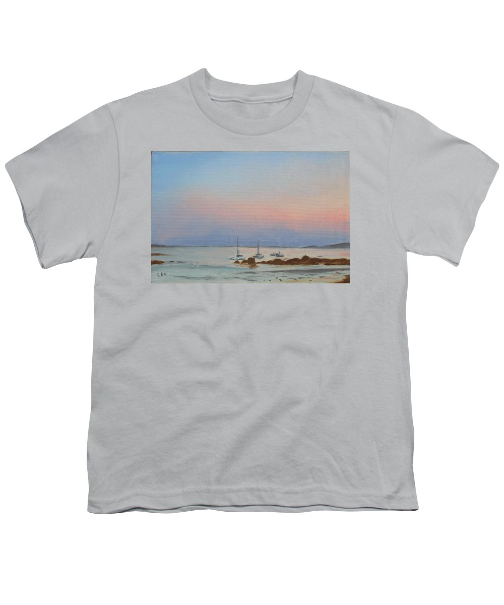 Seascape Youth T-Shirt featuring the painting Good Harbor by Lea Novak