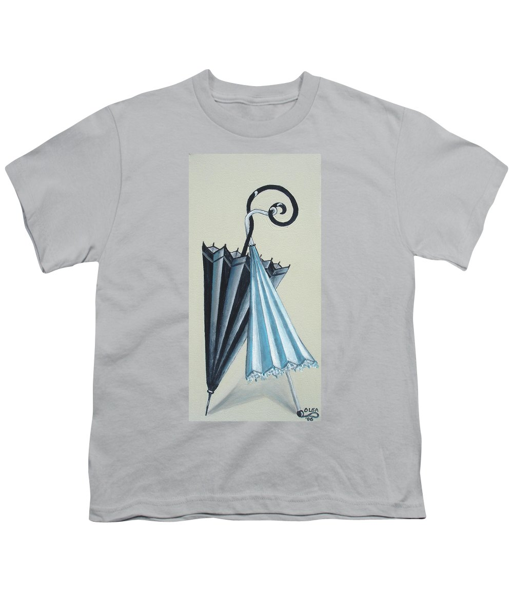 Umbrellas Youth T-Shirt featuring the painting Goog Morning by Olga Alexeeva